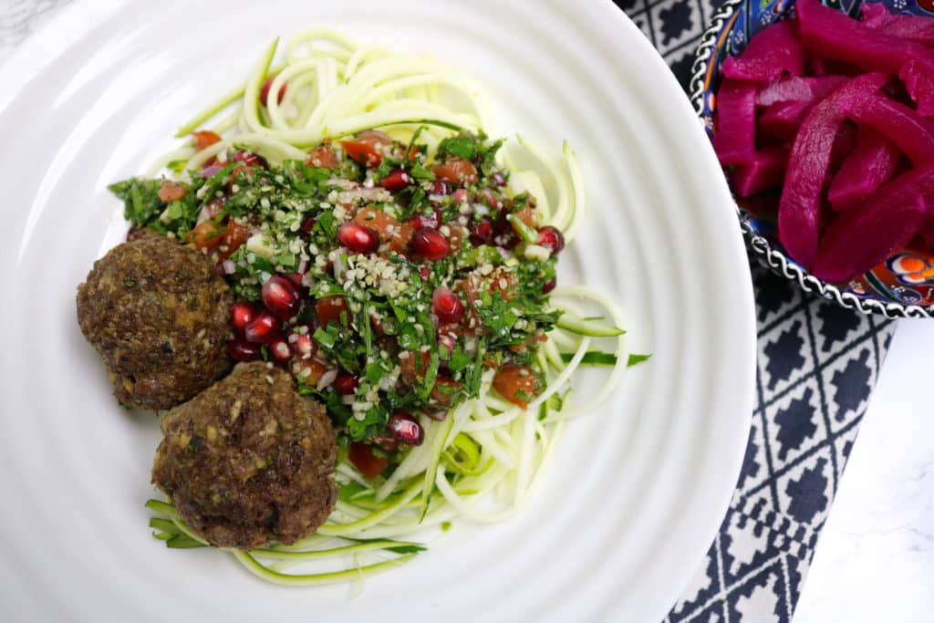 Shawarma Spiced Meatballs and Grain-Free Tabbouleh Bowl
