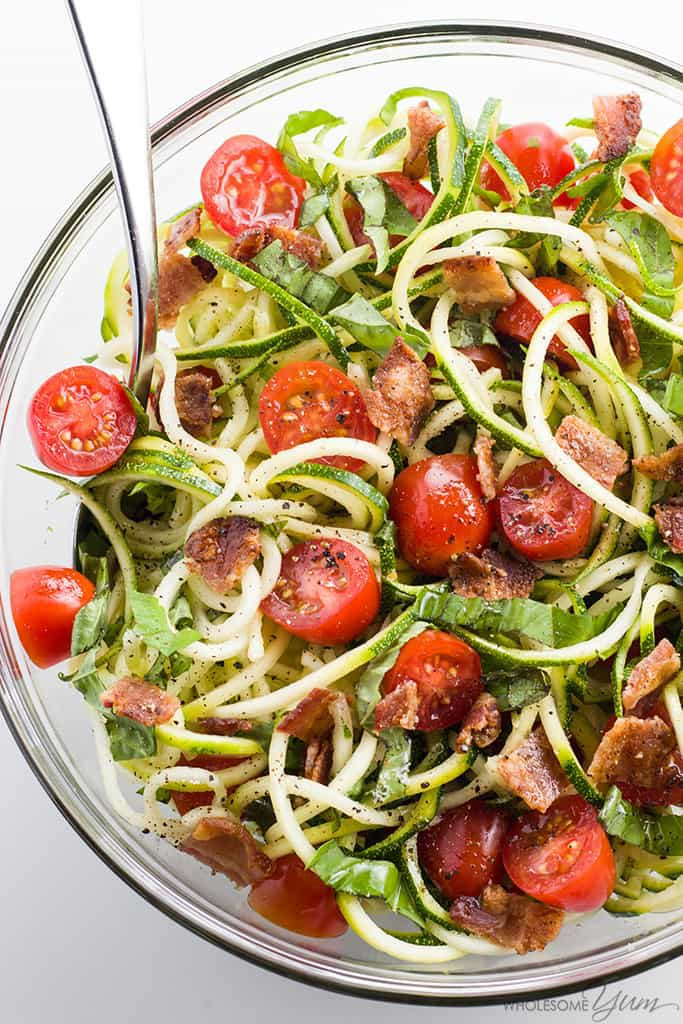 25 Spiralizer Whole30 Recipes - www.wholesomeyum.com-zucchini-noodle-salad-recipe-with-bacon-tomatoes-low-carb-paleo-img-5252