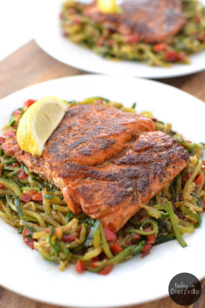 25 Whole30 Spiralizer Recipes - Blackened Salmon Cajun Noodles - Today in Dietzville