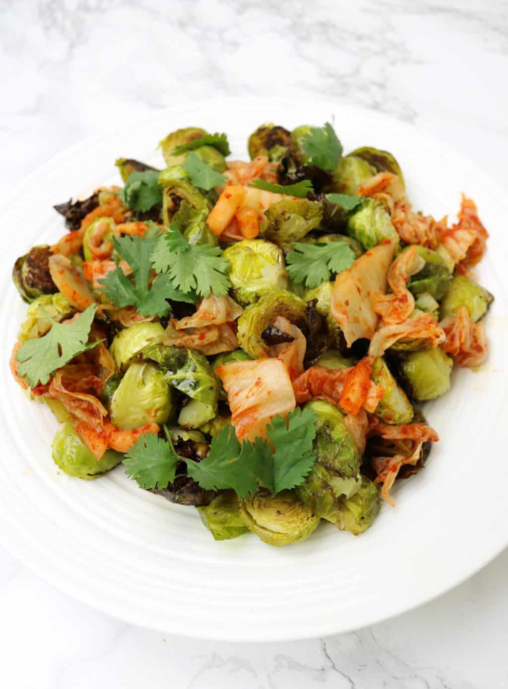 Roasted Brussels Sprouts with Kimchi - Paleo + Whole30 Recipe
